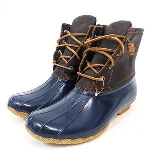 Sperry Saltwater Leather Duck Boots NEW Navy Blue